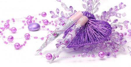 Airbrushnails Stilettos weiß-lila-pink
