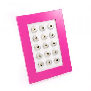 Aufbewahrungs-Rahmen für 15 Snap-Click-Buttons, pink,