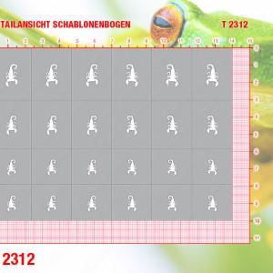 Nailart Airbrush Klebeschablone, Skorpion T2312, 24 Schablonen, selbstklebend