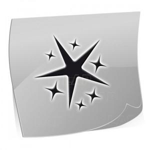 Nailart Schablonen ST7524-Sterne-Motiv, 24 Stück auf dem Schablonenbogen, 3 Größen, Kategorie Sonne, Mond und Sterne